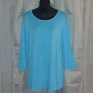 NWT CHICO'S LS FASHION KNIT LACING PLEAT BACK TOP